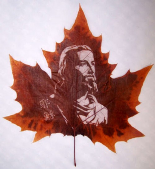 Jesus Christ on a maple leaf