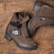 Leather boots against brown background
