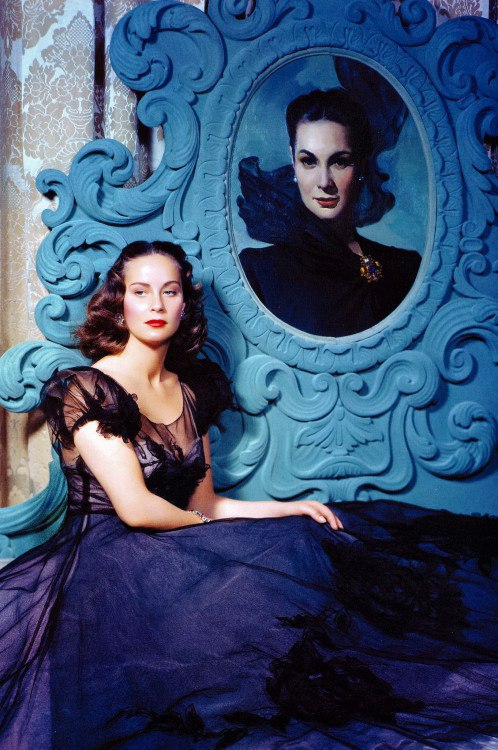 "Next to her portrait, Alida Valli in the film The Paradine Case"" directed by Alfred Hitchcock – 1947"