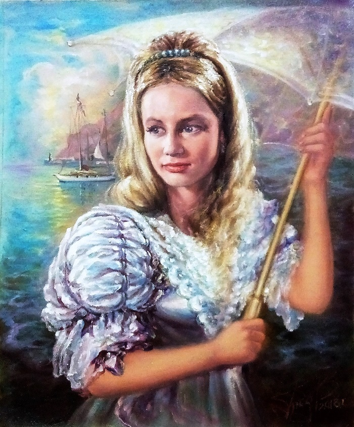 Oil on canvas painting by Crimean artist Gennady Medvedev. Actress Pola Raksa. 2018