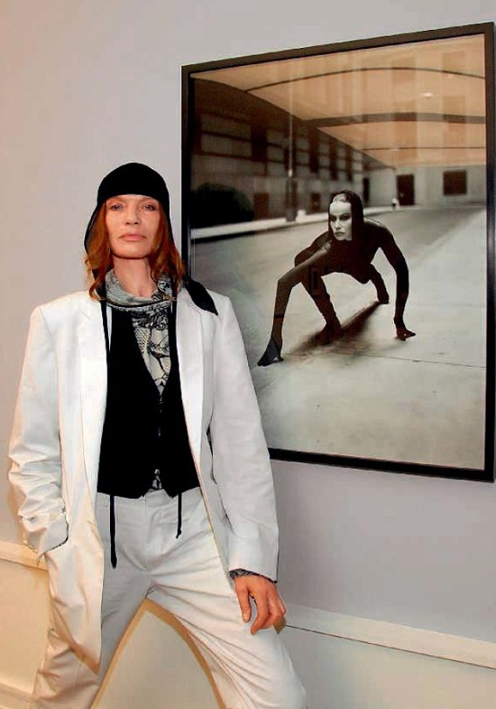 On the background of her portrait, made by photographer Andreas Hubertus Ilse in the museum of Helmut Newton, 2006