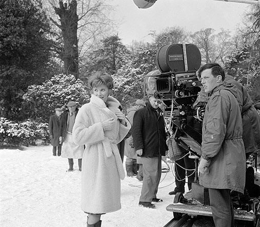 On the set of The Servant. 1963