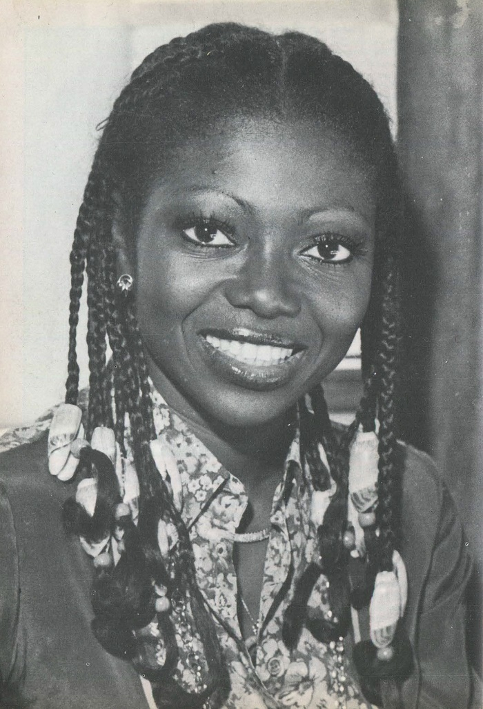 Patti Boulaye, British-Nigerian singer wearing traditional African braids, 1981