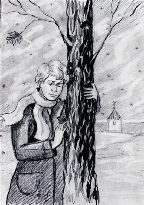 Poet Sergey Yesenin wrote his famous poem My fallen maple, which became a popular song in Russia. Drawing by unknown artist