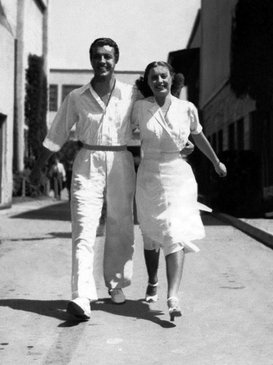 Robert Taylor and Barbara Stanwyck on the set of 'My Brother's Wife'