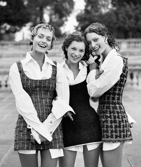 Shalom Harlow, Amber Valletta, Kate Moss