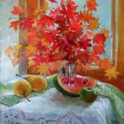 Still life – red maple leaves. Painting by Inna Zuyeva