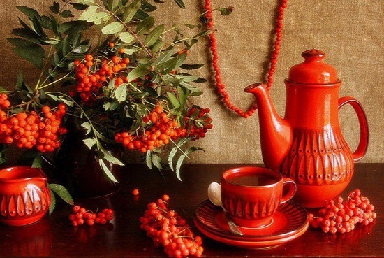 Still life with red rowan