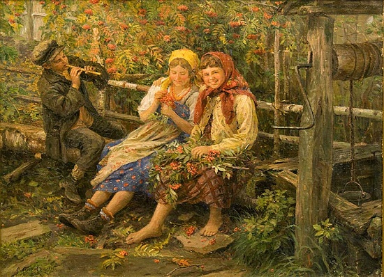 Under a rowan bush. 1934. Fedot Sychkov (1870-1958). Red Rowan in Slavic mythology