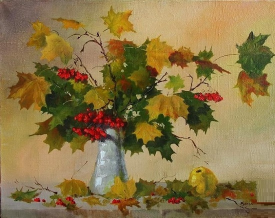 Vadim Zerrt. Autumn maple with rowanberry. Canvas, oil. 2012
