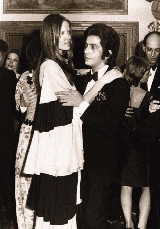 Veruschka with the fashion designer Valentino, 1970
