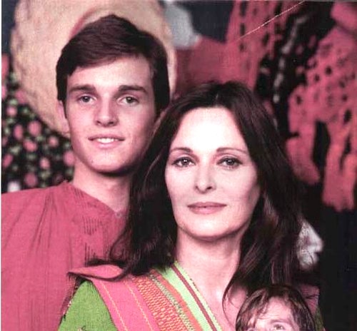 With her son Miguel Bose