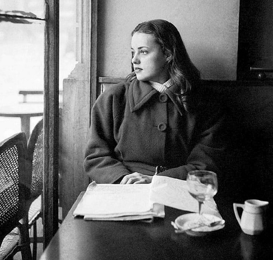 Young actress in 1949. Ideal of intellectual femininity actress Jeanne Moreau